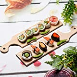 """bread board hanger - Serving Tray for Sushi or Cheese Wooden Sushi Serving Tray + cutting broad for bread + can be hanger 15.7"""" x 3.6"""""""