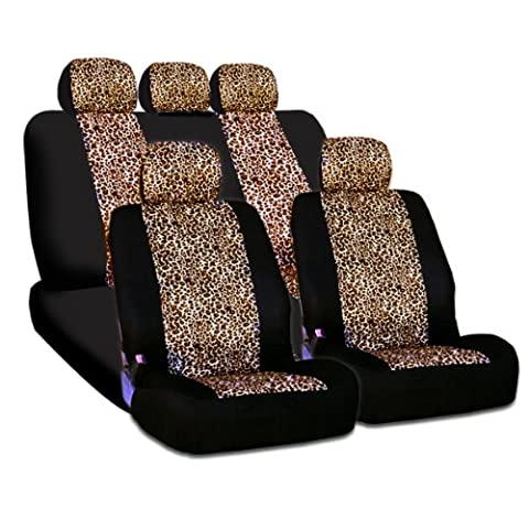 New and Unique YupbizAuto brand Safari Cheetah Print Universal Size Car Truck SUV Seat Covers Set High Quality Velour and Mesh Material Gift Set Smart Pocket (Safari Print Seat Covers)