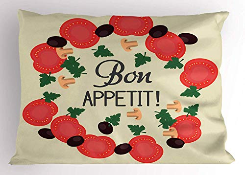K0k2t0 Bon Appetit Pillow Sham, Ingredients Pattern Sliced Tomatoes Mushroom Olives Parsley Kitchen Theme, Decorative Standard Queen Size Printed Pillowcase, 30 X 20 Inches, -
