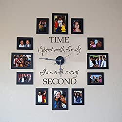 GECKOO® Time Spent with Family Is Worth Every Second - Family Wall Decal - Without Clock and Picture Frame (Black, Large)