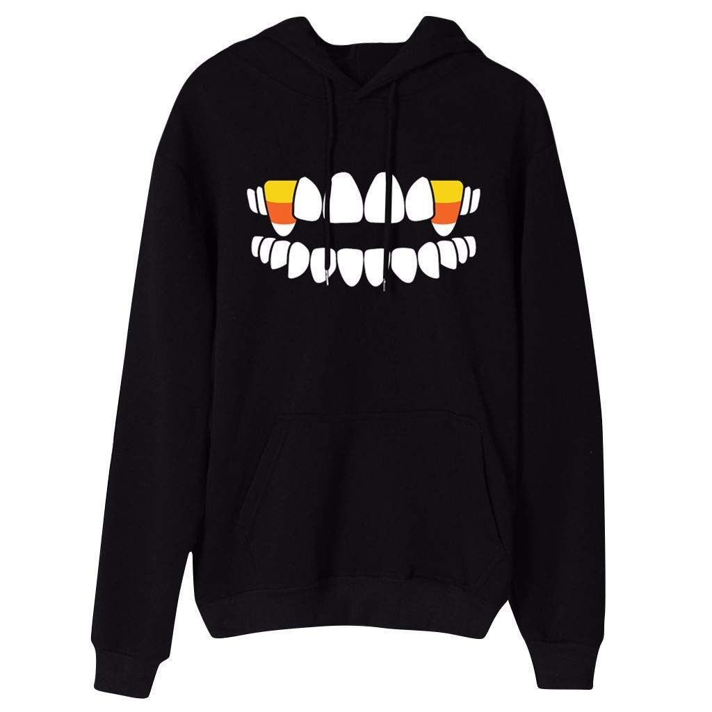 Forthery Halloween Gothic Women Vampire Teeth Printed Hoodie Scary Long Sleeve Sweatshirt Ladies Hooded Pullover Blouse(Black,L) by Forthery-Women