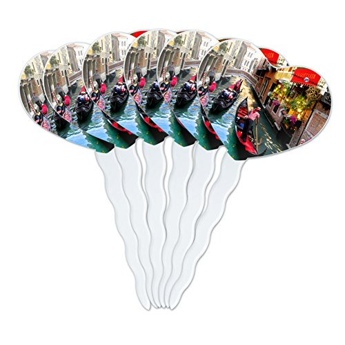 GRAPHICS & MORE Venice Italy Gondolas Canals Heart Love Cupcake Picks Toppers Decoration Set of 6 (Gondola Furniture)