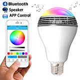 Bluetooth Speaker Led Light, Wireless E27 Smart LED Light Bulbs Lamp Lighting with RGB Color Changing / Music Player / Smartphone App Controlled for home-White For Sale