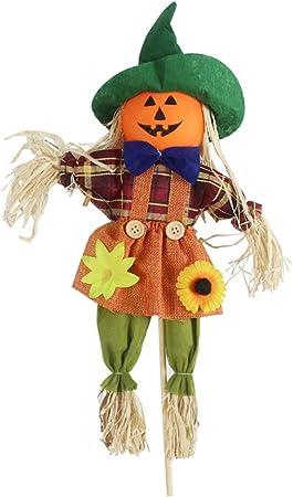 Cnight Halloween espantapájaros otoño recogido Ornamento espantapájaros Palo jardín decoración pájaros y Control de los parásitos Feliz decoración de Halloween espantapájaros decoración: Amazon.es: Hogar