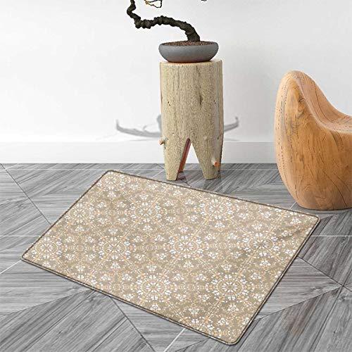 Mosaic Bath Mats Carpet Antique Roman Time Inspired Rock Design with Circled Modern Lines Image Print Floor Mat Pattern 55