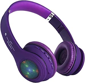Kids Bluetooth Headphones,LED Light Up Wireless/Wired Headset,85 dB Volume Limiting Foldable Headphones,Built-in Mic,Support FM Radio/Micro SD/TF,for Phone/Tablet/Pad/PC/Kindle/Laptop/TV(Purple)