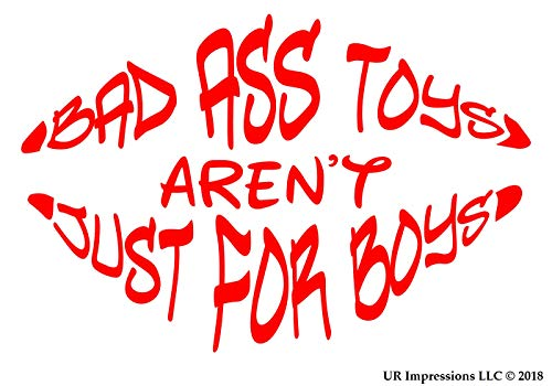 UR Impressions Red Bad Ass Toys aren't Just for Boys Lips Shaped Decal Vinyl Sticker Graphics for Cars Trucks SUV Vans Walls Windows Laptop|RED|7.5 X 5 Inch|URI268-R