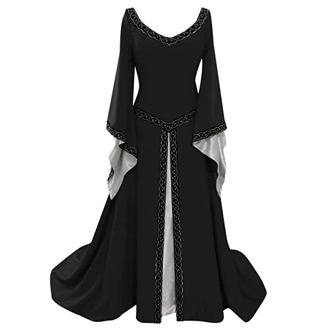 88494c1e0075c Victorian Dresses,MILIMIEYIK Womens Renaissance Medieval Costume Dress Lace  Up Irish Over Long Dresses Cosplay
