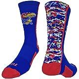 Kansas Jayhawks Digital Camo Crew Socks (Blue/Crimson/White, Small)