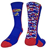 Kansas Jayhawks Digital Camo Crew Socks (Blue/Crimson/White, Large)