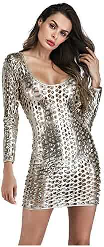 Wonder-beauty Womens Metallic Clubwear Hollow Out Long Sleeve Mini Dress  with Cut-Outs f2b8b9177