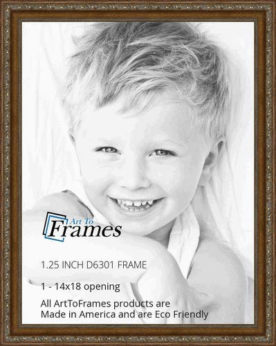 (ArtToFrames 14x18 inch Dark Gold with Beads Wood Picture Frame, WOMD6301-14x18)