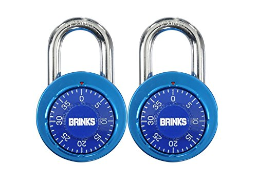 Brinks 164-49204 1-7/8-Inch 48mm Anodized Aluminum Dial Combination Padlock with Black Dial, 2-Pack, Assorted colors