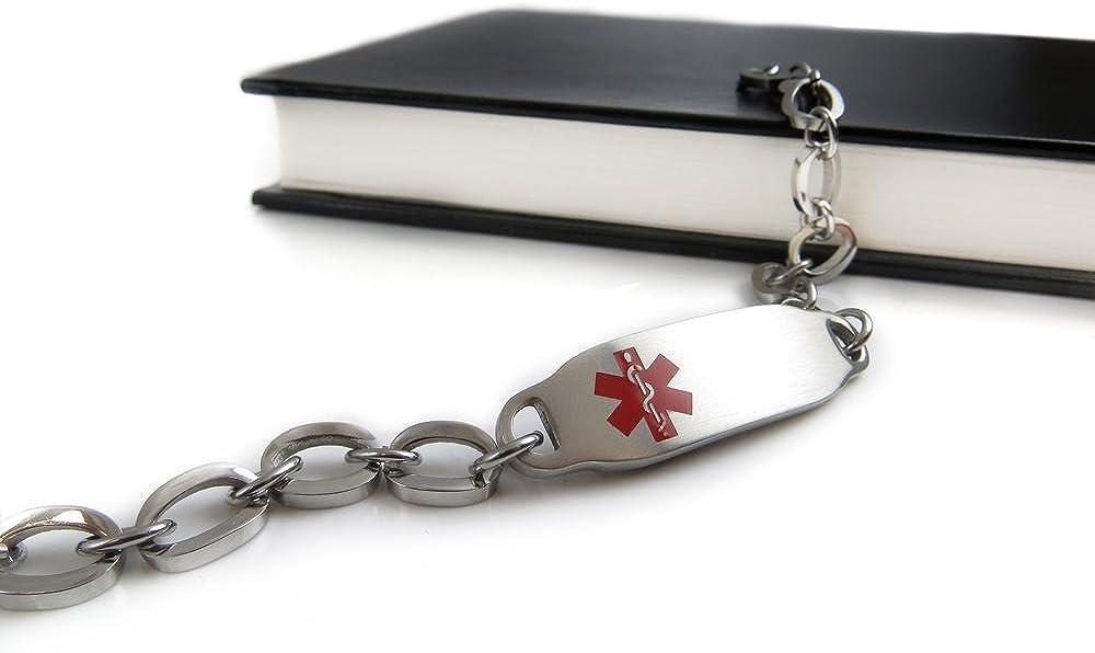 My Identity Doctor Oval Links Red Symbol Pre-Engraved /& Customizable Diabetic Alert Medical Bracelet