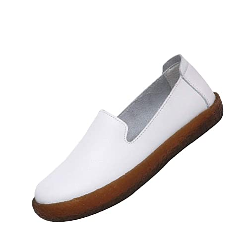 Yudesun Mujeres Cuero Casual Mocasines - Plano Suave Colegio Comodidad Zapatillas para Caminar Respirable Calentar Tobillo Conducción Sencillo Zapatos: ...