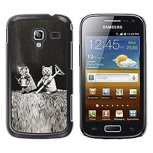 TopCaseStore / la caja del caucho duro de la cubierta de protección de la piel - Cute Kittens Black White Funny Love - Samsung Galaxy Ace 2 I8160 Ace II X S7560M