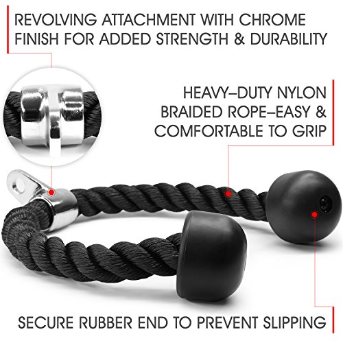 Yes4All Deluxe Tricep Rope Pull Down – 27 inch Rope Length, Easy to Grip & Non Slip Cable Attachment