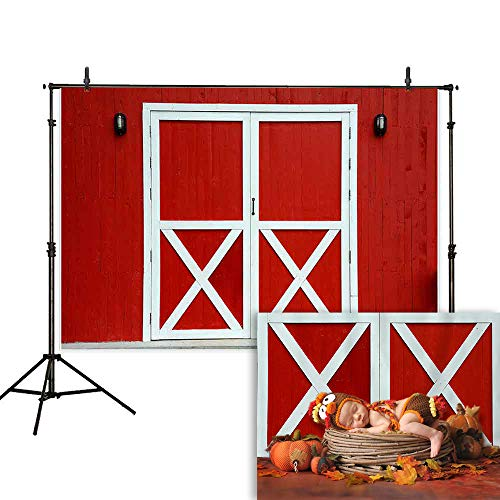 Allenjoy 7x5ft Old Red Barn Door Photography Backdrop Autumn Rustic Farm Wooden Wall Background Photo Studio Booth Props Newborn Baby Shower Fall Thanksgiving Party Decorations Cake Table Banner