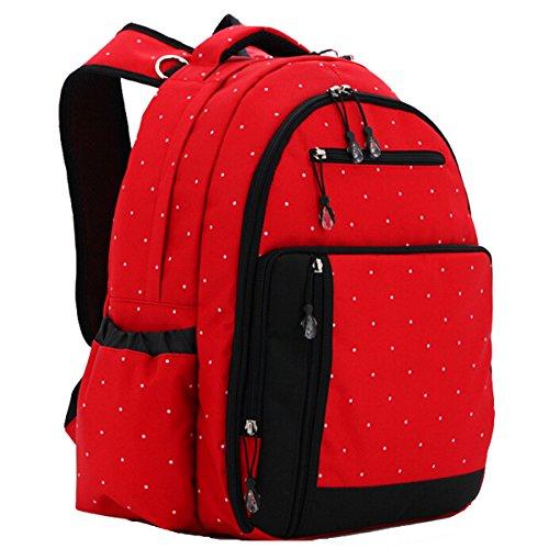 Multifunción para electricidad diseño de lunares de colores de la momia del filtro de la bolsa de pañales las bolsas de asas de pañales de bebé en los cambios de la mochila de Dark Red Dots Red Dots