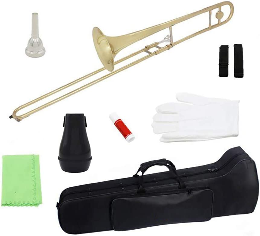 T-XYD Alto Trombón Instrumento de Viento Plano de latón B con Estuche, Boquilla, Guantes, Pasta de Corcho, Correa, paño de Limpieza, sintonizador,Latón: Amazon.es: Deportes y aire libre