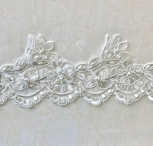Ivory Pearl and sequined lace trim, beading cord lace trim, bridal lace trim selling per (Pearls And Lace Bridal)