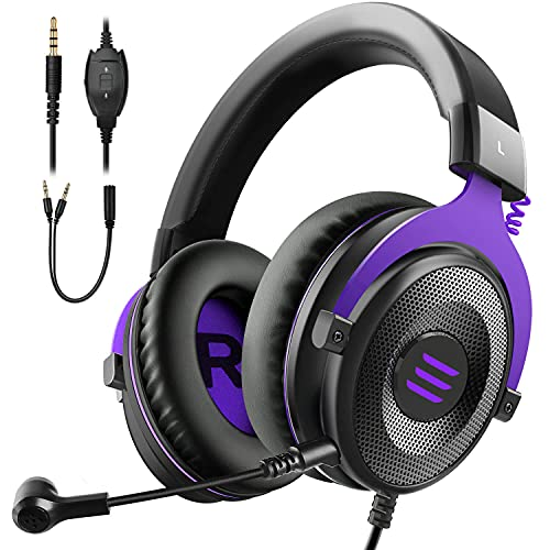 EKSA E900 Wired Stereo Gaming Headset-Over Ear Headphones with Noise Cancelling Mic, Detachable Headset Compatible with PS4, Xbox One, Nintendo Switch, PC, Mac, Laptop(Purple)