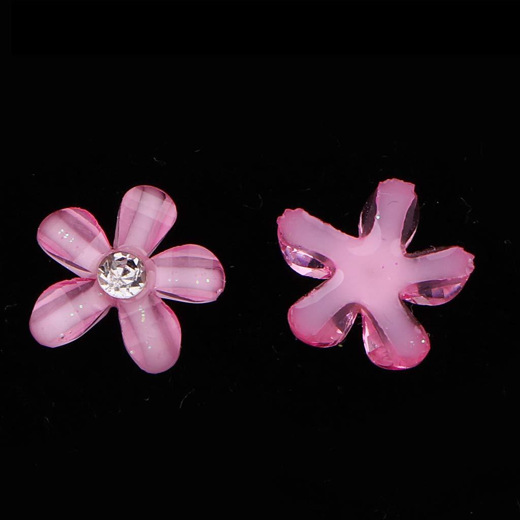 Sharplace 20pcs Botones de Costura Forma de Flor de Espalda Plana con Diamantes Artificiales Decoraci/ón para Ropas Zapatos Blanco