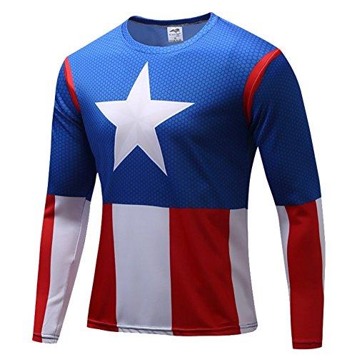 Sports Attire Costume (HOCOOL Mens Captain America Halloween Costume Shirt Sport Skin Running Tee S)