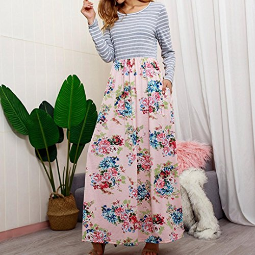 Rambling Women's Casual Striped Long Sleeve Floral Print Bohemian Tank Dresses Party Evening Long Maxi Dresses with Pockets by Rambling (Image #5)