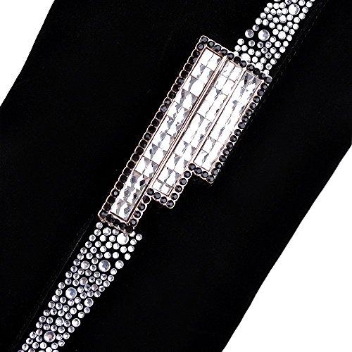 YCMDM nuove donne stivali alti stivali di spessore con pattini spessi inferiori di moda Tacchi alti , black , 34