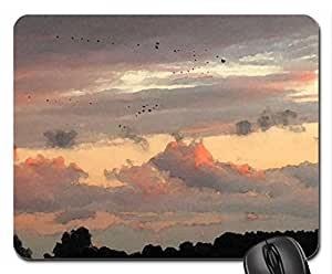 Birds flying high Mouse Pad, Mousepad (Sky Mouse Pad, Watercolor style)