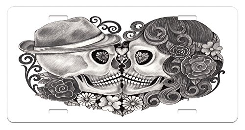 5.88 L X 11.88 W Inches High Gloss Aluminum Novelty Plate Lunarable Gothic License Plate Charcoal Grey Art Skull Hat All Saints Day Mexico Culture Festival Floral Illustration