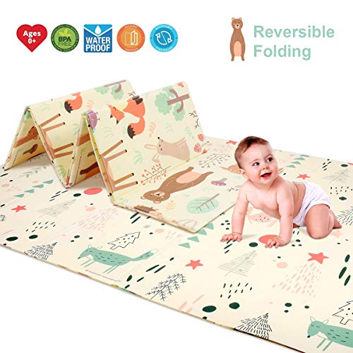 Baby Reversible Play Mat 78.7 x 59 x0.4 Double-Sided Crawling Mat Foldable Waterproof Non-Toxic Portable BPA Free Floor Mat for Toddlers, Infants, Kids