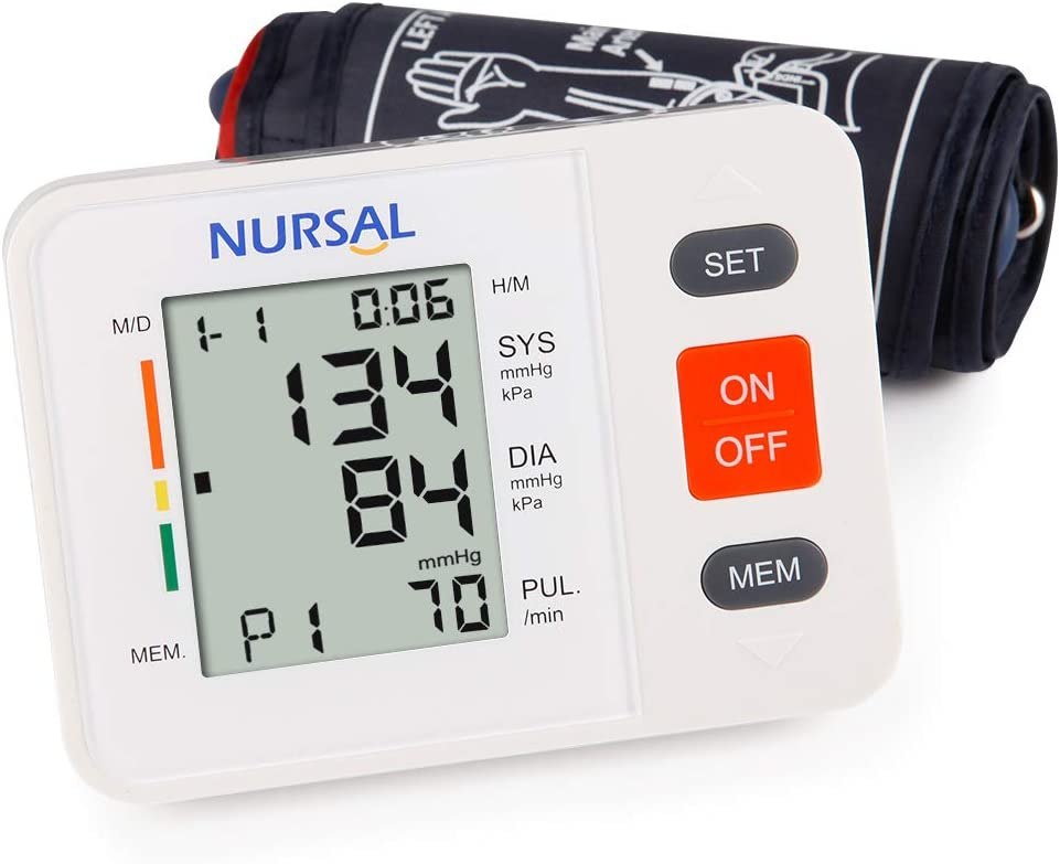 NURSAL Upper Arm Digital Blood Pressure Monitor Automatic Blood Pressure Machine for Home Use with Cuff 22-42cm, Large LCD Screen, 2 Users 180 Readings – FDA Approved