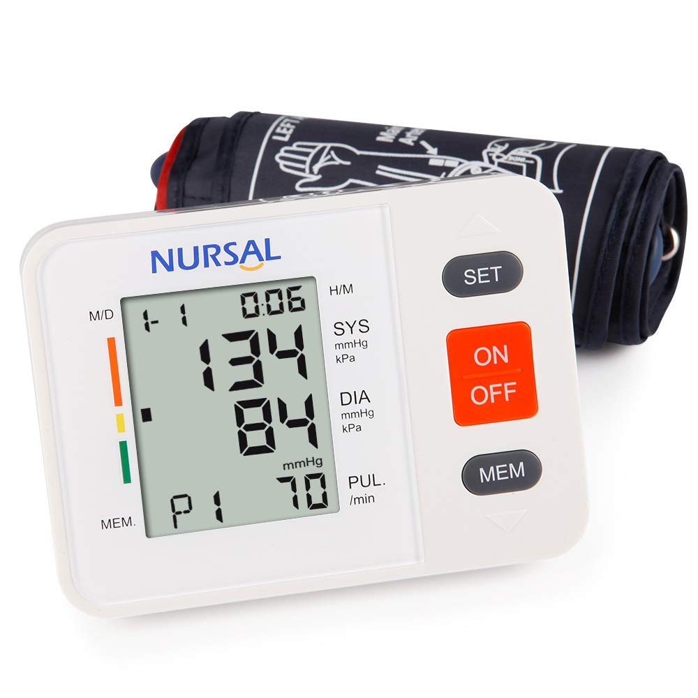 NURSAL Upper Arm Digital Blood Pressure Monitor Automatic Blood Pressure Machine for Home Use with Cuff 22-42cm, Large LCD Screen, 2 Users 180 Readings - FDA Approved by NURSAL