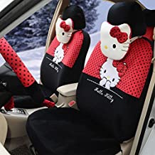 18pcs Cartoon Car Driver and Passenger Seat Covers Red+black Full Set Ice Silk Universal Right and Left Seat Cushion Car Steering Wheel Cover Rearview Mirror Cover