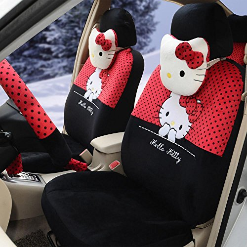 rmrp88 1 Set Hello Kitty Automotive Car Seat Cover Full Set Car Steering Wheel Cover Rear View Mirror Cover (red Black) (Hello Kitty Seat Cover For Car)