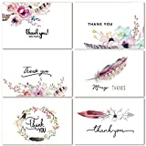 48 Assorted Bulk Pack Floral Thank You Cards Greeting Cards Boho Spirit, 4 x 6 Inch Thank You Notes Card for Baby Shower Wedding Graduation Blank on the Inside 6 Designs, White Envelopes Included