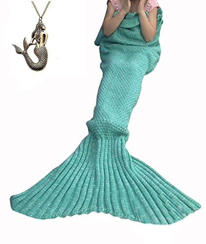 URSKY Crochet Knitted Sofa Living Room Mermaid Tail Blanket, Cozy and Soft All Season Mermaid Tail Pattern Throw Sleeping Bag For Adult, Teens and Child (55