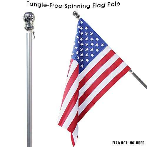 (Toland Home Garden Silver Tangle Free Spinning Flag Pole 59