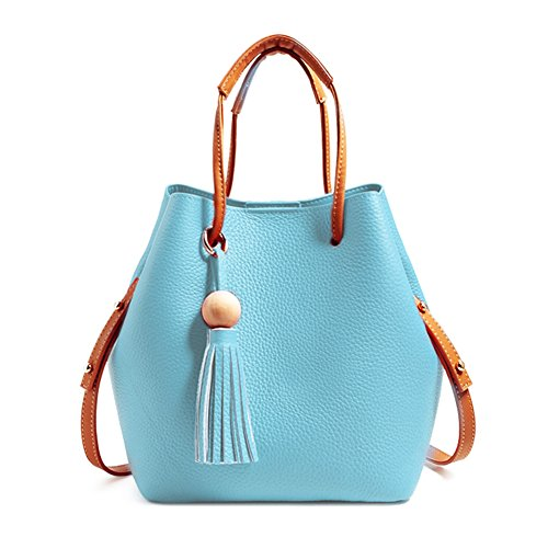 Turelifes Tassel buckets Totes Handbag Women's casual Shoulder Bags Soft Leather Crossbody Bag 3 Back Method Purse (Blue) -