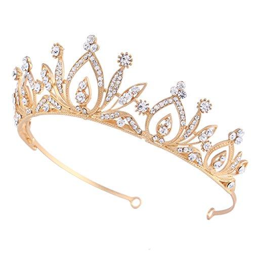 Santfe Bridal Wedding Prom Rhinestone Crystal Crown Hairband Headband Tiara Hair Jewelry for Womens Girls (Gold)
