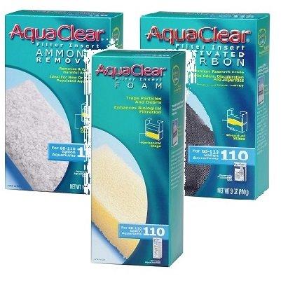 Aquaclear 110 Replacement Media Bundle: Sponge, Carbon, Ammonia Remover - Aquaclear 110 Aquarium