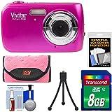 Vivitar ViviCam F126 Digital Camera (Pink) with 8GB Card + Case + Mini Tripod + Kit
