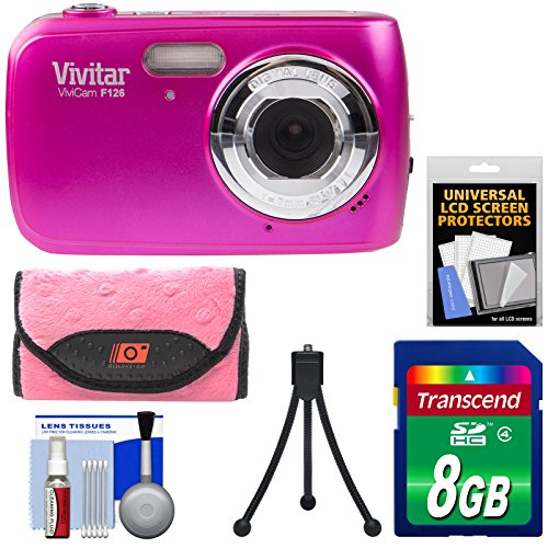 Vivitar ViviCam F126 Digital Camera (Pink) with 8GB Card + Case + Mini Tripod + Kit Vivitar Vivicam