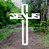 Jesus Cross Christian [Pick Any Color] Vinyl Transfer Sticker Decal for Laptop/Car/Truck/Window/Bumper (3in x 2.2in (Laptop Size), White)