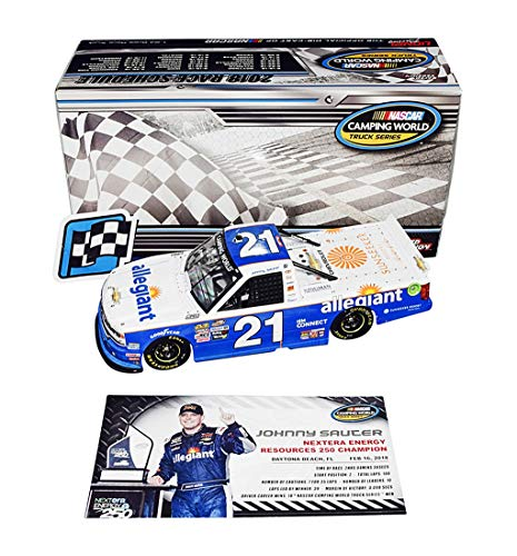 AUTOGRAPHED 2018 Johnny Sauter #21 Allegiant Racing DAYTONA WINNER (Raced Version) Camping World Truck Series Signed Lionel 1/24 Scale NASCAR Diecast with COA (#386 of only 661 produced!) - Johnny Sauter Racing