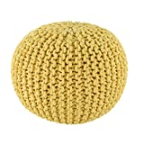 Spura Home Gum Drop 100% Cotton Knitted Pouf, 22.5'', Yellow
