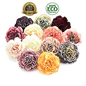 silk flowers in bulk wholesale Fake Flowers Heads Artificial Silk Rose Flower Head Home Garden Wedding Birthday Party Decoration DIY Scrapbooking Fake Flower 8PCS 7.5 cm (Multicolor) 107