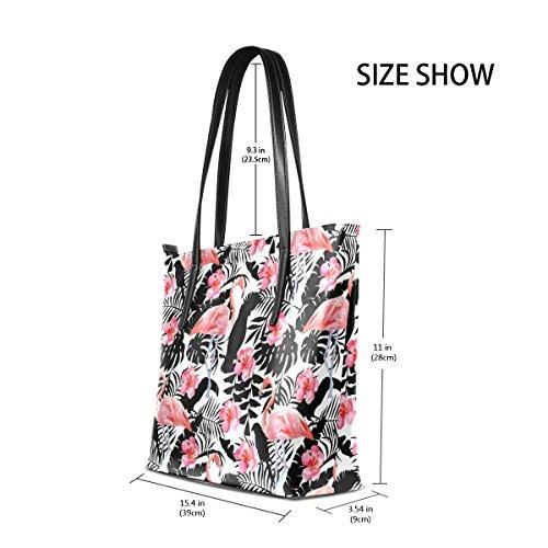 COOSUN Flamingo Hibiscus Papageien Tropische Pflanzen PU Leder Schultertasche Handtasche und Handtaschen Tasche für Frauen